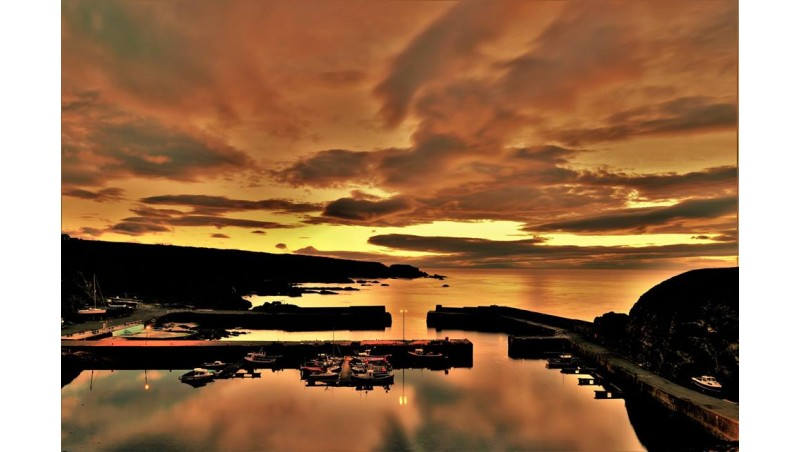 Portknockie Harbour at sunset